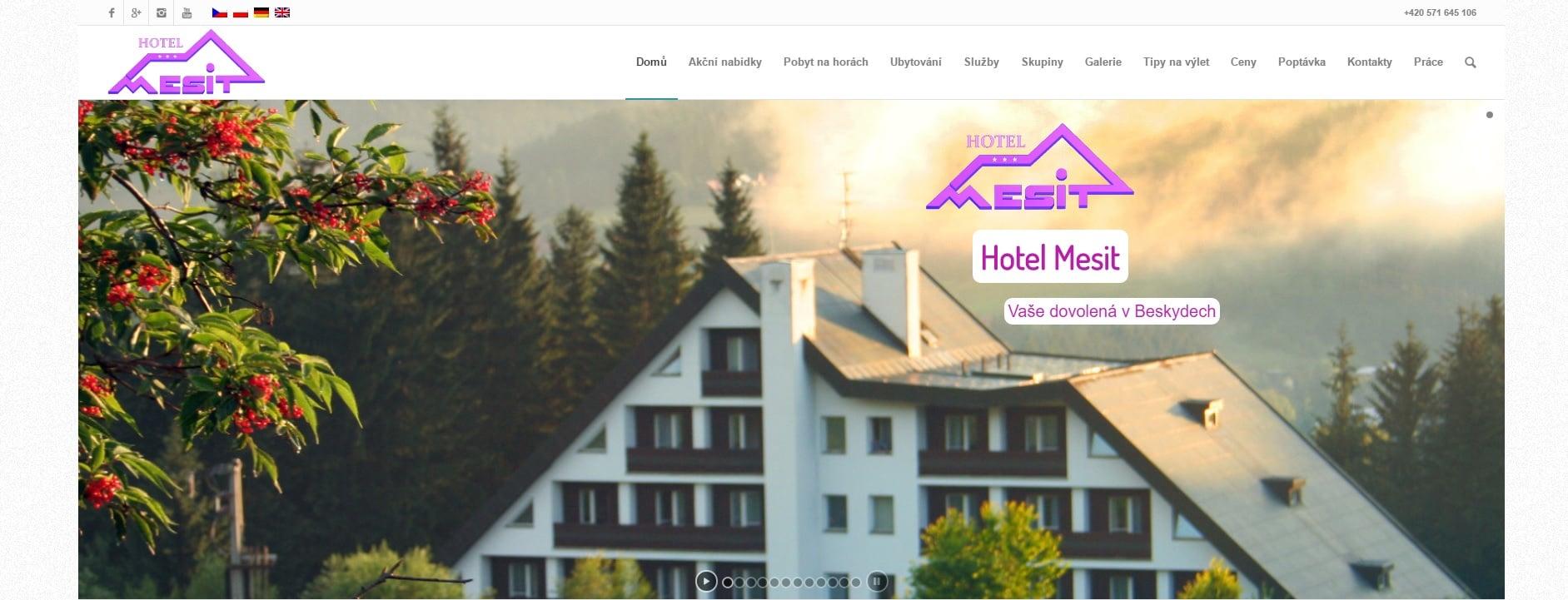 Web hotelu Mesit