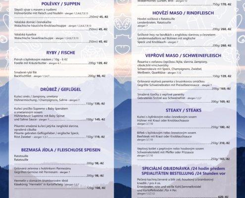 hotel Mesit jídelní lístek